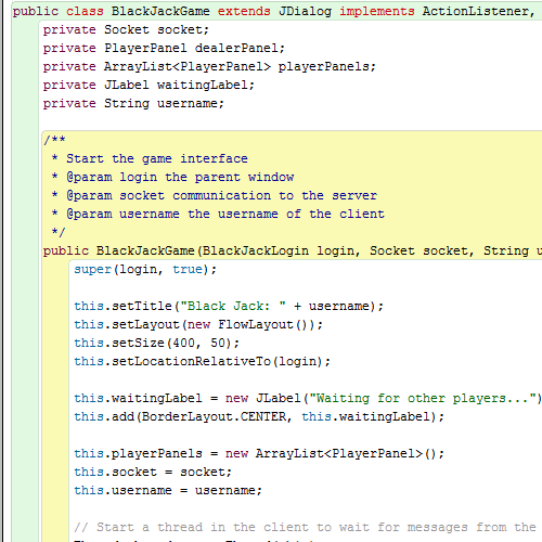 Blackjack client server