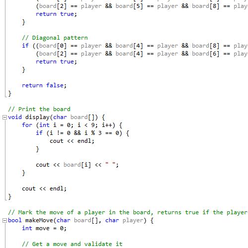 tic tac toe c++ code